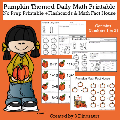 Pumpkin Daily Math For the Fall - flashcards Addition & subtraction, math fact house and no-prep printables $6 - 3Dinosaurs.com