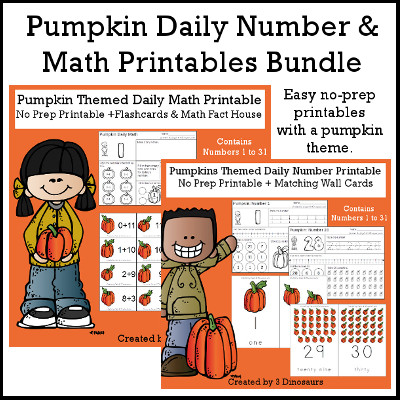 Pumpkin Daily Number & Math For the Fall - flashcards for addition & subtraction, math fact house, no-prep printables $7.50 - 3Dinosaurs.com