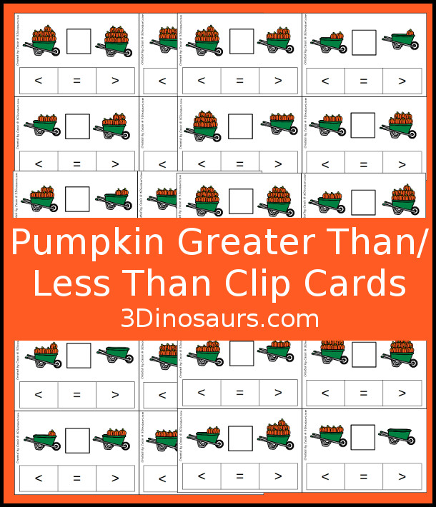 Free Pumpkin Themed Greater Than Less Than Clip Cards - hands-on look at numbers 0 to 10 - 3Dinosaurs.com