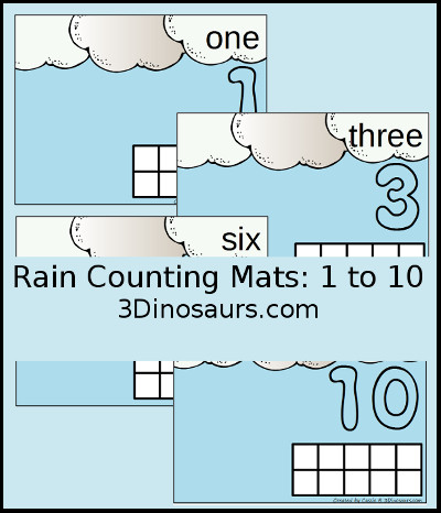 3 Dinosaurs - Rain Themed Counting Mats Number 1 to 10