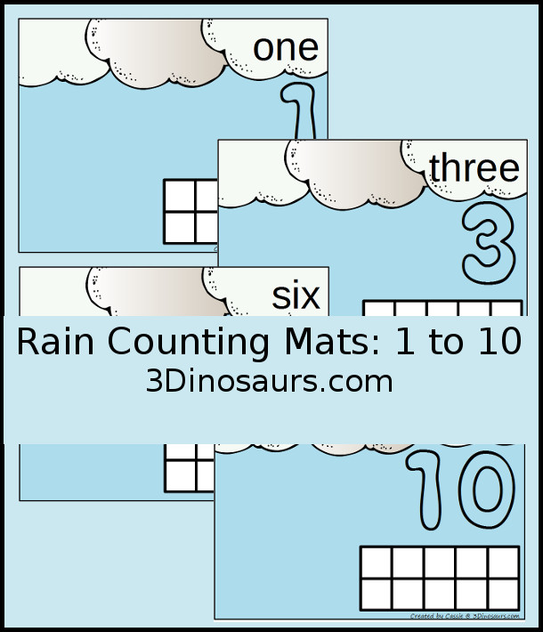 Free Rain Themed Counting Mats: 1 to 10 - hands-on math with playdough number and ten frames - 3Dinosaurs.com