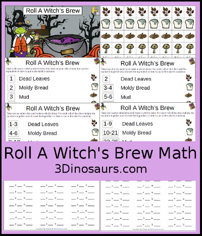 Roll a Witch's Brew Math - 3Dinosaurs.com