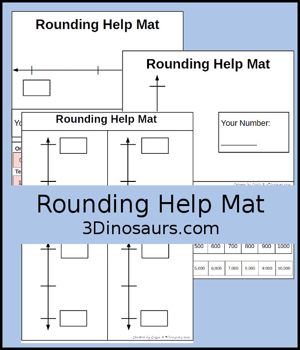 Free Rounding Help Mat - 3 mat to help kids with rounding in color and black and white options. - 3Dinosaurs.com