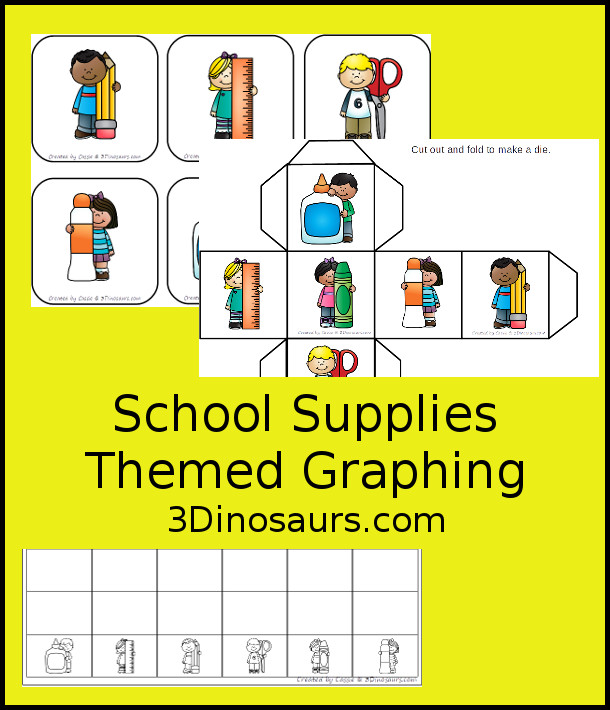 Free School Graphing - with graphing and 2 dice options and 1 graphing sheet - 3Dinosaurs.com #graphing #mathforkids #kindergarten #prek #freeprintable
