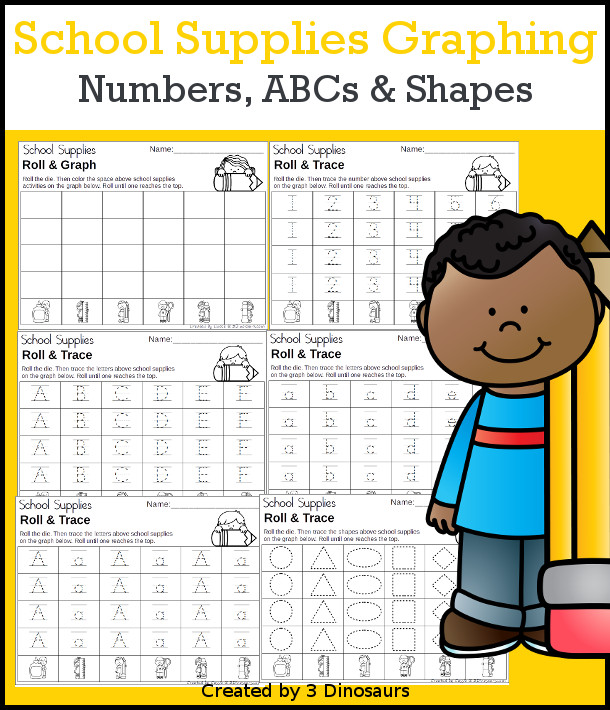 Easy to Use School Graphing Set - with graphing and 2 dice options plus graphing ABCs, numbers, and shapes - 3Dinosaurs.com #graphing #mathforkids #kindergarten #prek #backtoschool