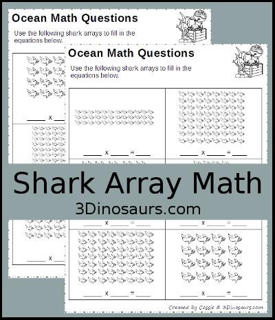 3 Dinosaurs - Shark Array Math