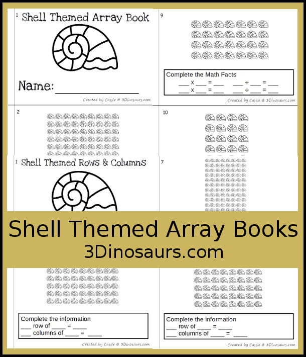 Free Shell Themed Array Math Fact Books - two books with arrays and math facts or rows and columns - 3Dinosaurs.com