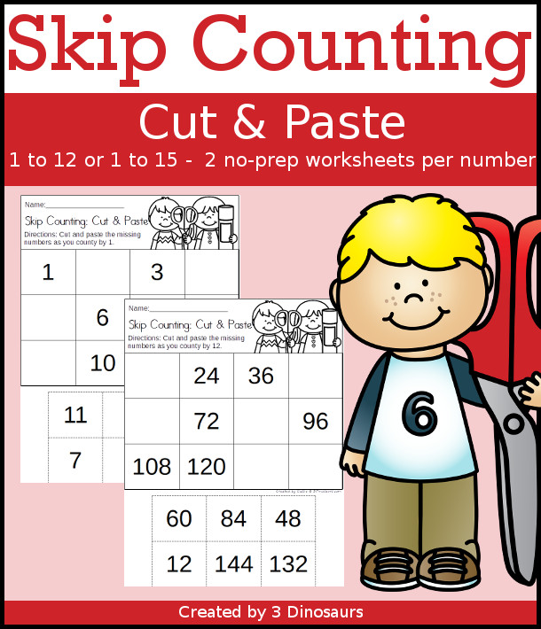 Easy No-Prep Skip Counting Cut & Paste - easy no-prep printables with numbers 1 to 12 for skip counting 24 pages $ - 3Dinosaurs.com