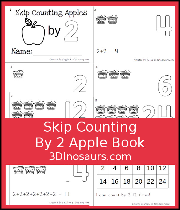 Free Skip Counting by 2 Apple Book - a fun easy reader book for kids to work on skip counting with apples by 2 - 3Dinosaurs.com