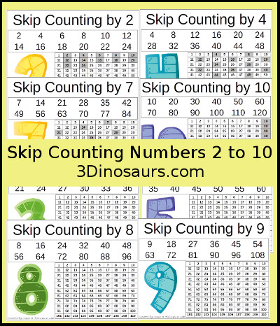 3 Dinosaurs Skip Counting Worksheets Printable