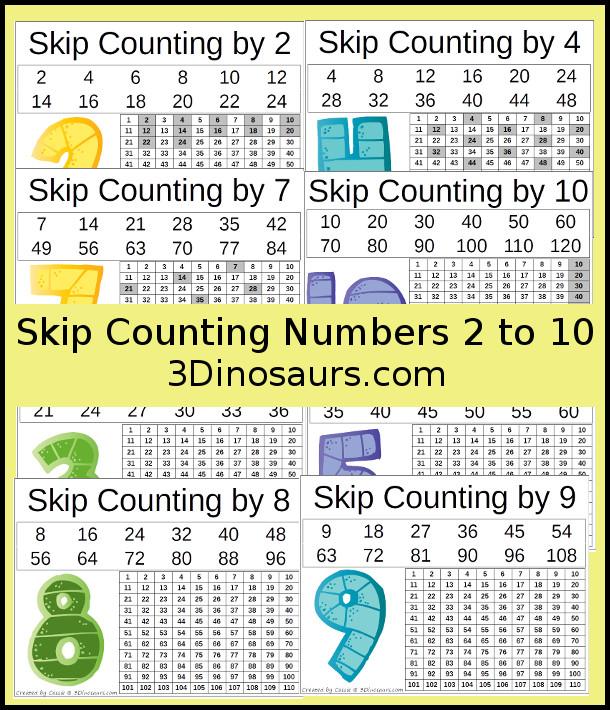 Free Number Skip Counting Printable number 2 to 10 - 3Dinosaurs.com