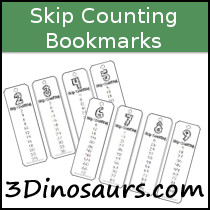 Skip Counting Bookmarks Printable - 3Dinosaurs.com