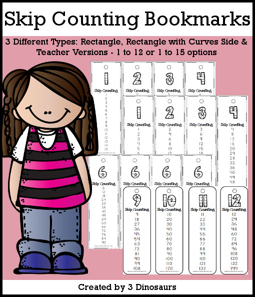 Skip Counting Bookmarks- skip counting by 1 to 12 or 1 to 15 - 3 versions with a teacher print included $2 - 3Dinosaurs.com