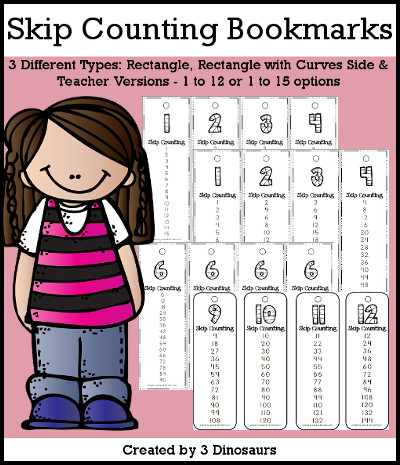 Skip Counting Bookmarks with 3 versions to print 1 to 12 or 1 to 15 - 3Dinosaurs.com