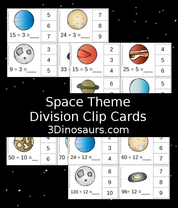 Free Planets Themed Division Clip Cards - 12 pages of printables with 4 cards on each page - 3Dinosaurs.com