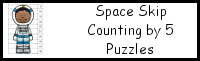 Space Themed Skip Counting by 5 Puzzles
