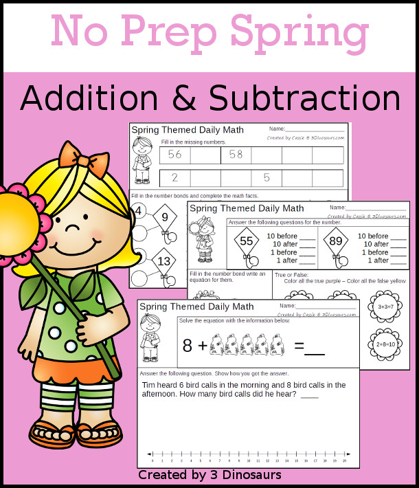 No Prep Spring Themed Addition & Subtraction - 30 pages no-prep printables with a mix of addition and subtraction activities plus a math center activity - 3Dinosaurs.com #noprepmath #tpt #addition #spring #subtraction