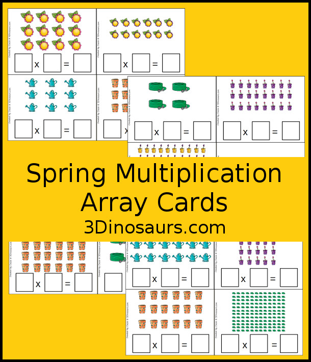 Free Spring Themed Multiplication Array Cards - 5 pages with 4 cards per page - 3Dinosaurs.com