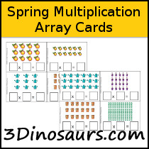 Spring Themed Multiplication Array Cards Printable