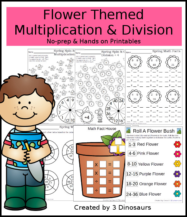 Flower Themed Multiplication & Division Set - 100 pages of no-prep and hands on printables - 3Dinosaurs.com