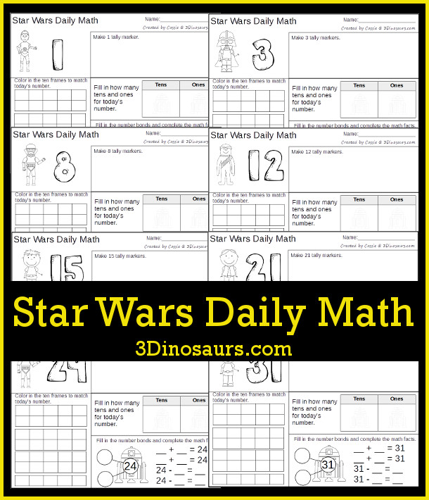 Free Star Wars Daily Math - numbers 1 to 31 - 3Dinosaurs.com