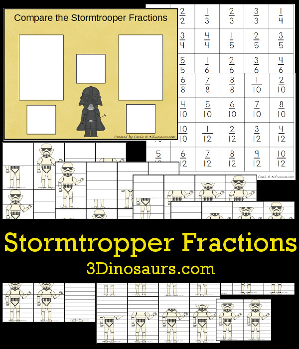 Free Comparing Stormtrooper Fractions - hands on look at compare different fractions with a Star Wars Theme - 3Dinosaurs.com