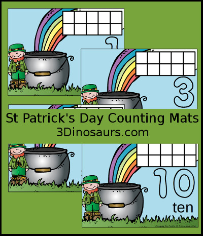St Patrick's Day Counting Mats Number 1 to 10 - 3Dinosaurs.com