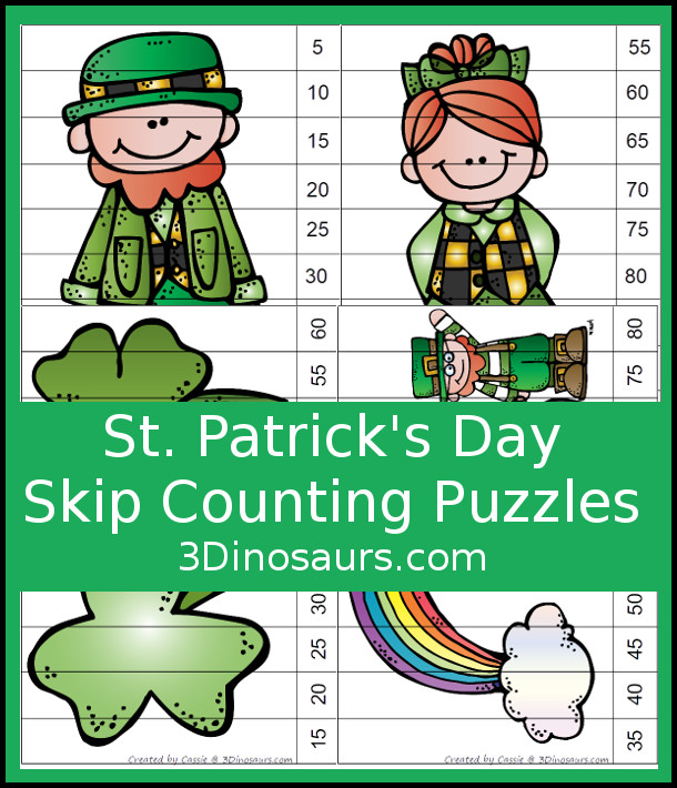 Free Fun St Patrick's Day Skip Counting by 5 Puzzles - 4 pages of puzzles with template - 3Dinosaurs.com