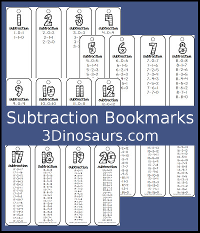 Subtraction Bookmark Printables - 3Dinosaurs.com