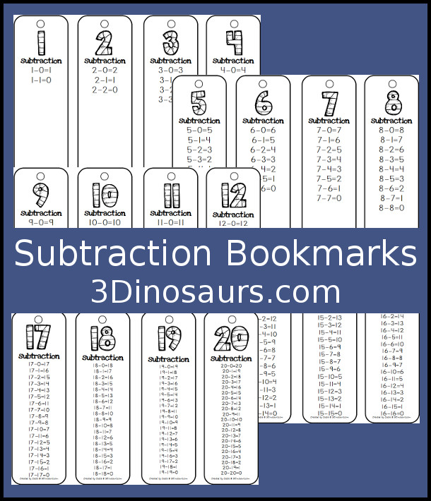 Subtraction Bookmarks {Free}