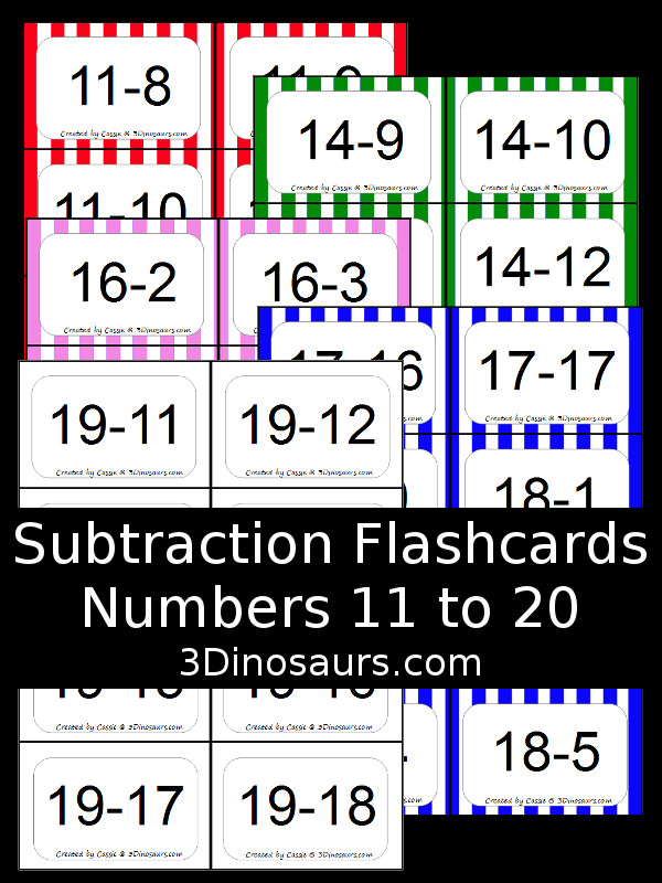 photo regarding Printable Numbers 1 20 Flashcards known as Subtraction Flash Playing cards 11 towards 20 3 Dinosaurs