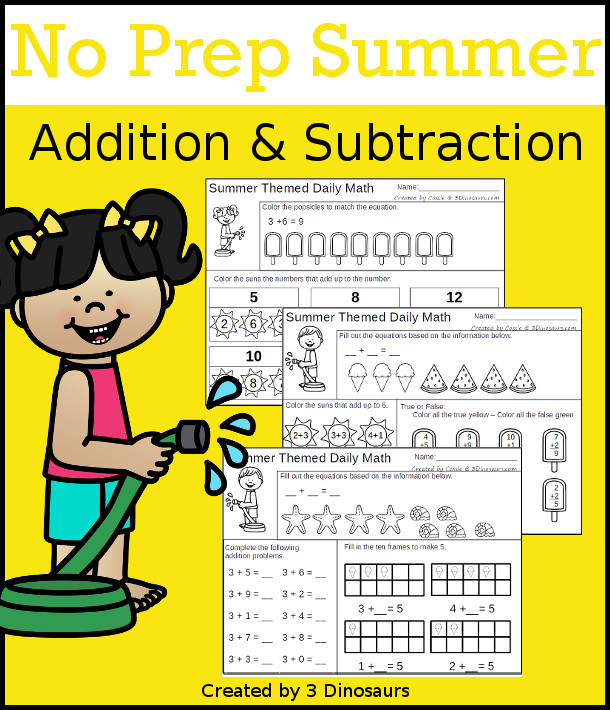No Prep Summer Addition & Subtraction - 30 pages no-prep printables with a mix of addition and subtraction activities plus a math center activity - 3Dinosaurs.com #noprepmath #tpt #addition #subtraction