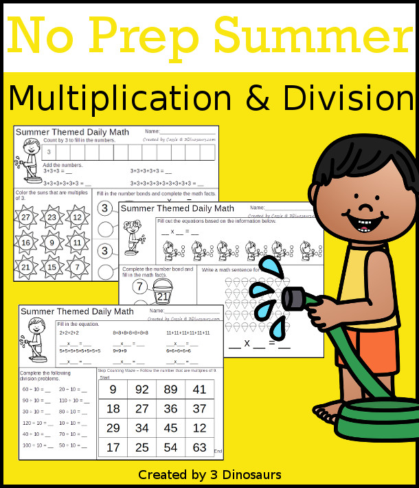 No Prep Summer Multiplication & Division  - 30 pages no-prep printables with a mix of multiplication and division  activities plus a math center activity - 3Dinosaurs.com #noprepmath #tpt #division #multiplication