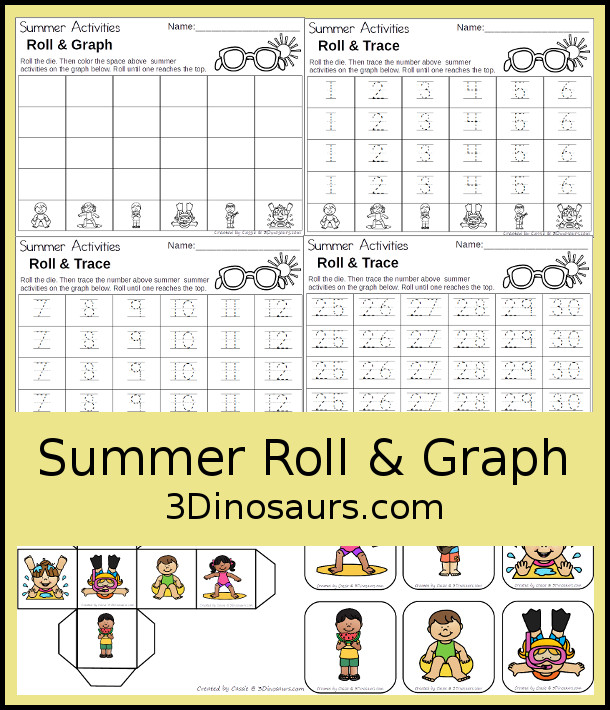 Free Summer Graphing - with graphing or tracing numbers 1 to 30 options - 3Dinosaurs.com #graphing #mathforkids #kindergarten #prek #freeprintable