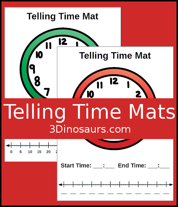 Free Telling Time Help Mats in 2 options in color and black and white - 3Dinosaurs.com #tellingtime #mathforkids #thirdgrade #freeprintable