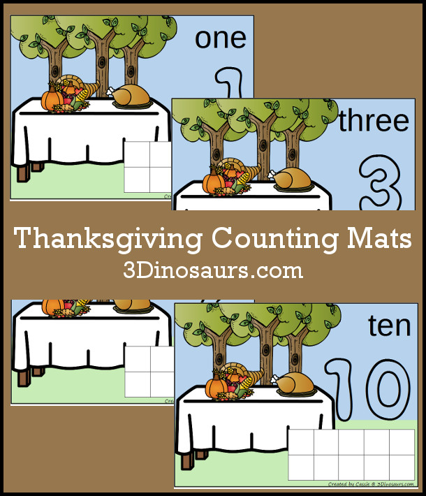 FREE Hands-On Thanksgiving Counting Mats for Numbers 1 to 10 - 12 pages of printables - 3Dinosaurs.com