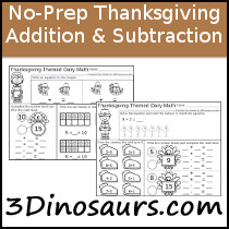 No-Prep Thanksgiving Themed Addition & Subtraction