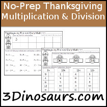 No-Prep Thanksgiving Themed Multiplication & Division