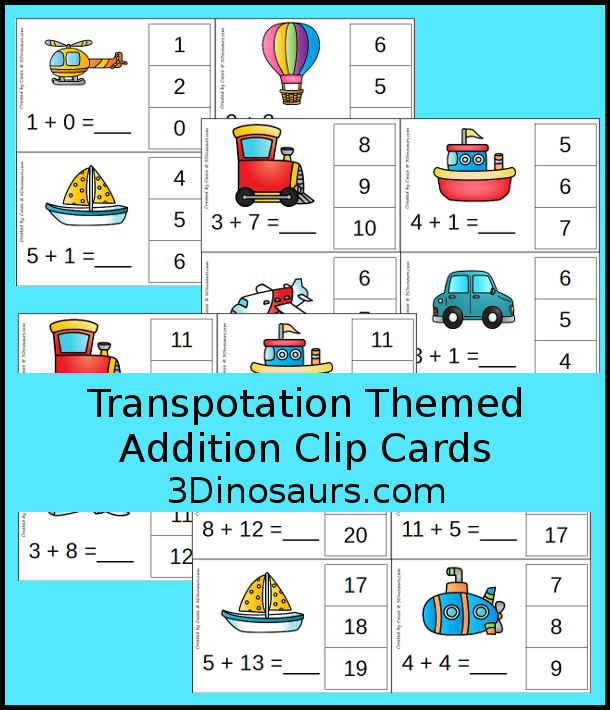 Zooming Transportation Themed Addition Clip Cards | 3 Dinosaurs