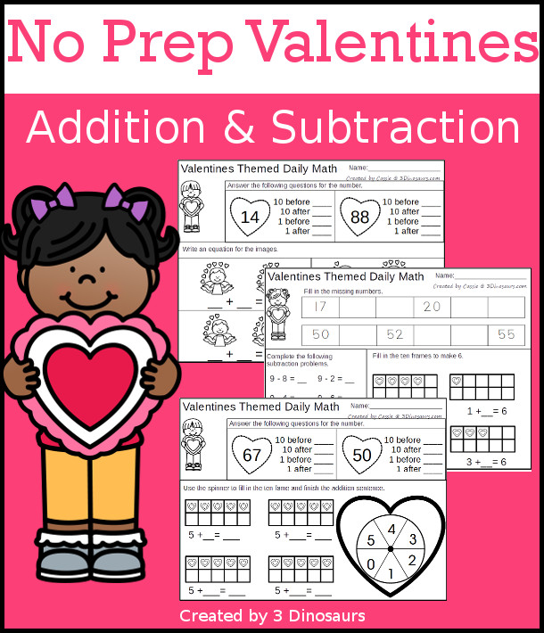 No Prep Valentines  Themed Addition & Subtraction - 30 pages no-prep printables with a mix of addition and subtraction activities plus a math center activity - 3Dinosaurs.com #noprepmath #tpt #addition #valentines #subtraction