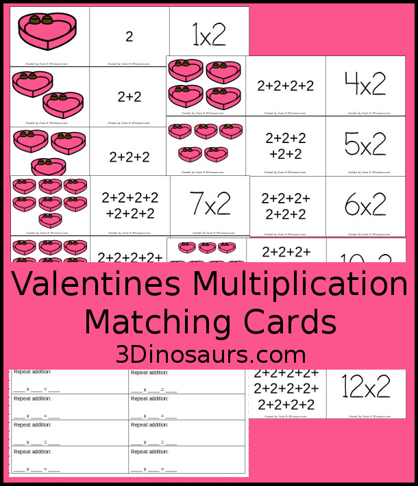 Free Valentines Multiplication Matching Cards with pictures, repeat addition and equations with a recording sheet - 3Dinosaurs.com