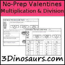 No-Prep Valentines Themed Multiplication & Division