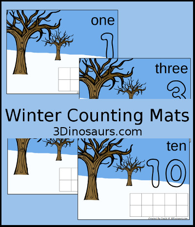 3 Dinosaurs - Winter Counting Mats Number 1 to 10
