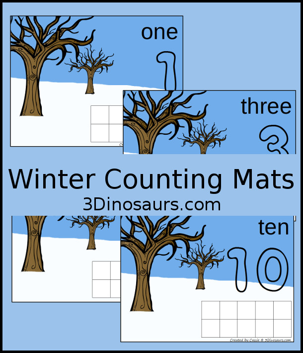Hands-On Winter Counting Mats: Numbers 1 to 10 - 3Dinosaurs.com