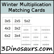 Winter Themed Multiplication Matching Cards