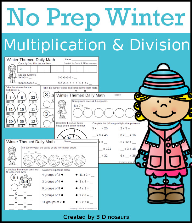 No-Prep Winter Printables: Multiplication & Division and Addition ...