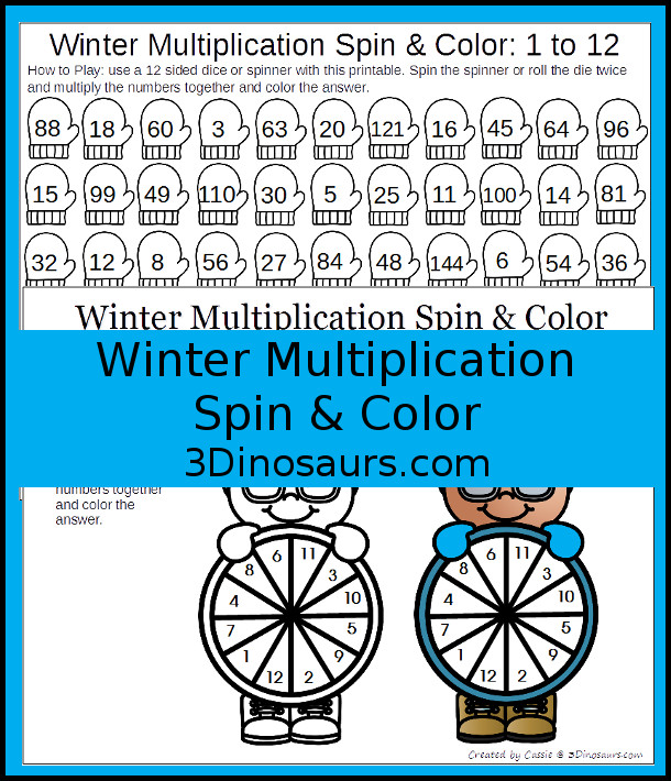 Free Winter Themed Multiplication Spin & Cover - easy low prep activity to work on multiplication math facts - 3Dinosaurs.com