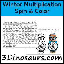 Winter Themed Multiplication Spin & Color