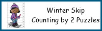 Winter Themed Skip Counting by 2 Puzzles