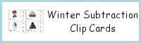 Winter Subtraction Clip Cards